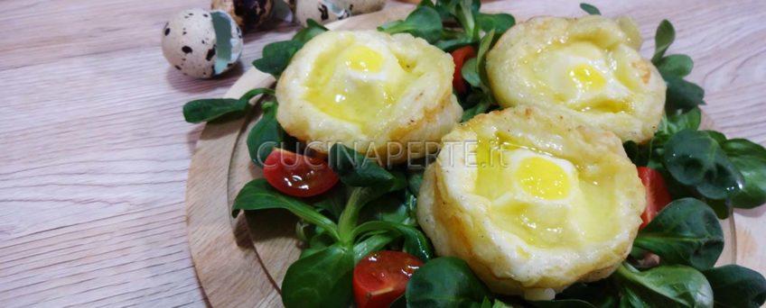 Cestini di patate e uova di quaglia