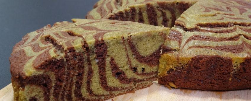 Torta zebrata cacao e tè matcha