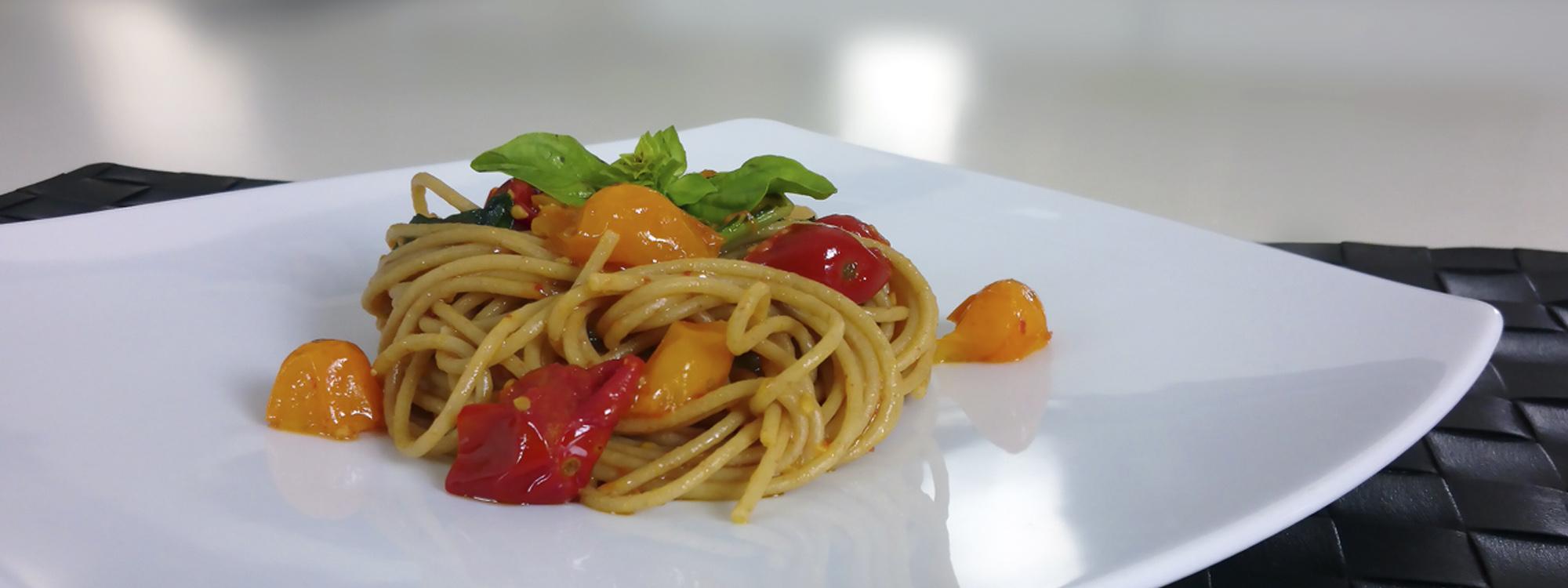 Spaghetti di Kamut con Pomodorini e Basilico